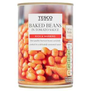 Baked Beans In Tomato Sauce Or No Added Sugar 420g : 4 for £1 (Clubcard price) @ Tesco