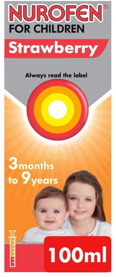 Nurofen for Children Medicine Strawberry Ibuprofen, 100 mg - 3 Months to 9 Years - 100 ml £1.99 Prime at Amazon (+£2.99 non Prime)