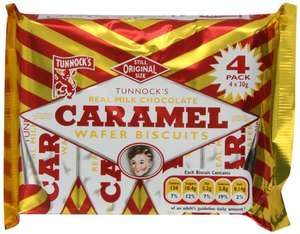 Tunnock's Real Milk Chocolate Caramel Wafer Biscuits 120 g (4 x 30g) £1 prime / £5.49 non prime (BUY 4 SAVE 5% s&s) @ Amazon