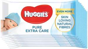 Huggies Pure Extra Care Baby Wipes, Unscented (8 packs x 56 Wipes) - £7 Prime / +£4.49 non Prime (£5.25 S&S) @ Amazon