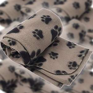 3 x Beige Pet Touch Small Soft Fleece Paw Print Blankets £5 delivered @ Yankee Bundles