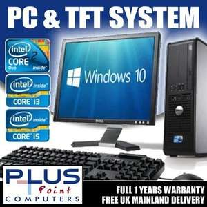Refurbished Dell/hp Tower PC & 17'' Tft MonItor, Windows 10, 4GB, 160GB Dualcore £62.99 @ pluspointcomputers / ebay
