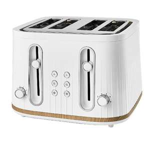 White And Wood GTT201WW-20 Scandi 4 Slice Toaster - £20 free click and collect from Asda (£2.95 delivery)