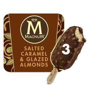 Magnum Salted Caramel & Glazed Almond Ice Cream 3x90ml £2 at Sainsbury's