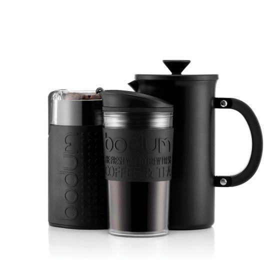 Travel mug, coffee bean grinder and cafetière £32.35 + £2.42 del at Bodum Shop
