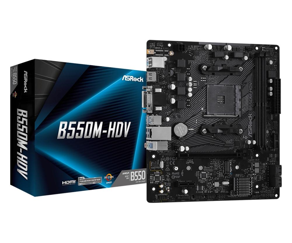 Asrock B550M-HDV AMD B550 Socket AM4 micro ATX motherboard £71.06 at more computers