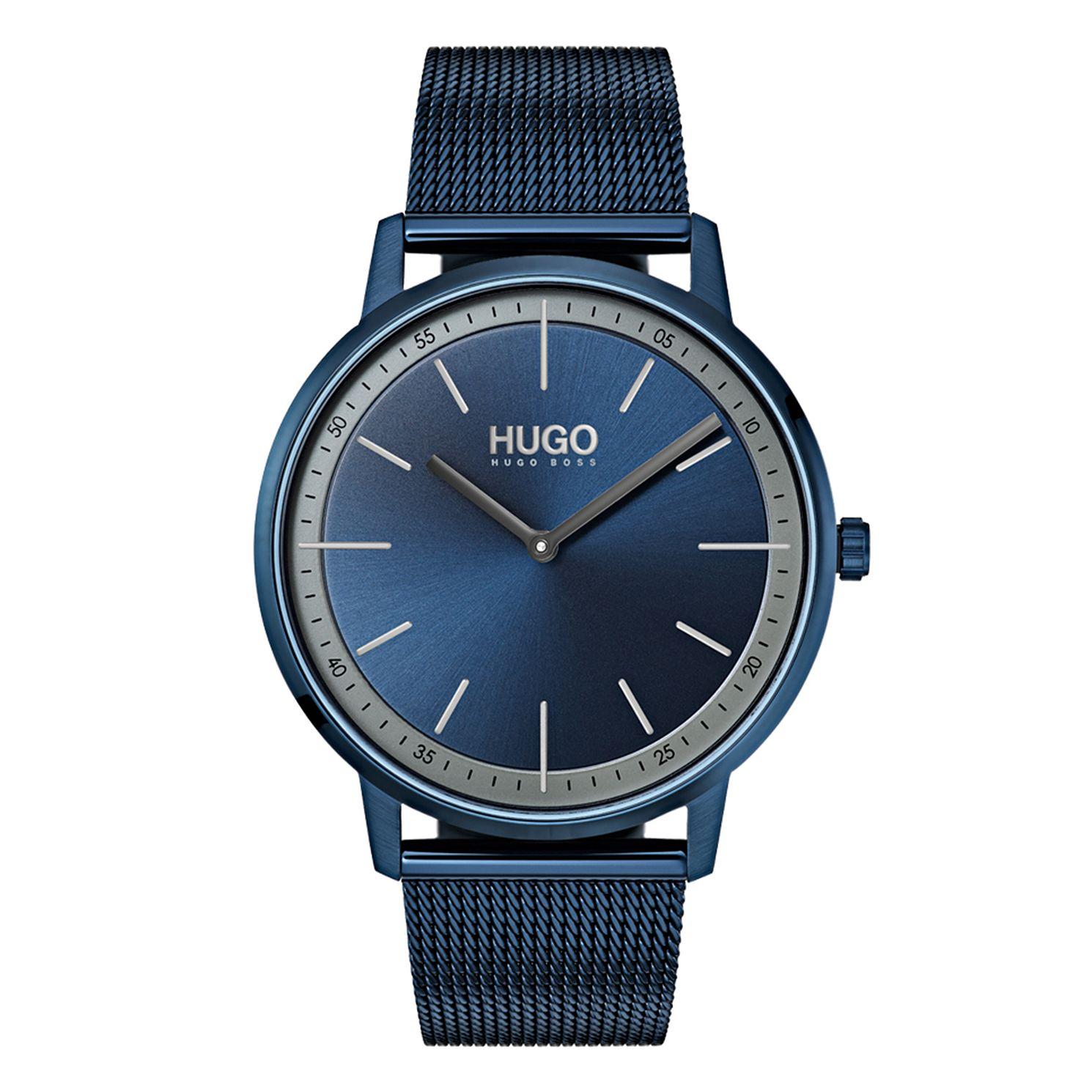 HUGO EXIST Men's Blue IP Stainless Steel Mesh Bracelet Watch £79 @ H Samuel