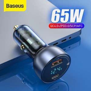 Baseus 65W Car Charger Quick Charge 4.0 3.0 Type C PD Fast Charger QC4.0 with 100W cable - £16.18 @ Ali Express Deals / BASEUS Store