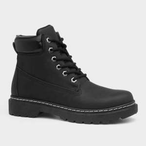 Lilley Womens Lace Up Black Ankle Boots with Padded Collar Size UK 3,4,5,6,7 Only £7.99 @ ShoeZone