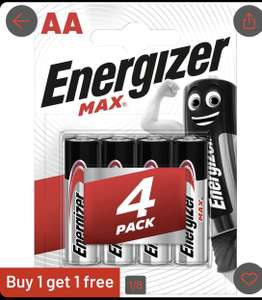 Energizer Max AA or AAA batteries £3.74 BUY 4 get 4 FREE (only 47p per battery) at Argos click & collect