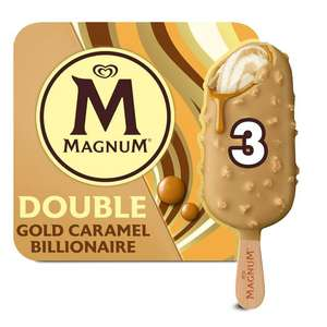 Magnum Double Gold Caramel Billionaire Ice Cream - 3 Pack (255ml) for £2 (Clubcard Price) @ Tesco