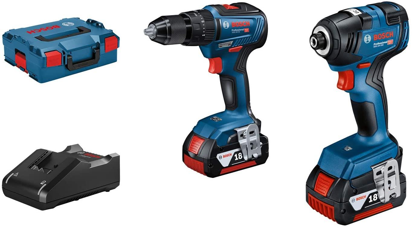 Bosch Professional 18V Set Combi Drill GSB 18 V-55 + Impact Driver GDR 18V-200 2x 3.0Ah battery, charger GAL 18 V-20, L-BOXX £198.99 Amazon