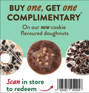 Krispy Kreme Buy one, Get one Free Complimentary on new Cookie flavoured doughnuts with code