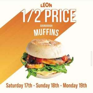 Half price sourdough muffins now £2.37 at Leon Restaurants from Sat 17th