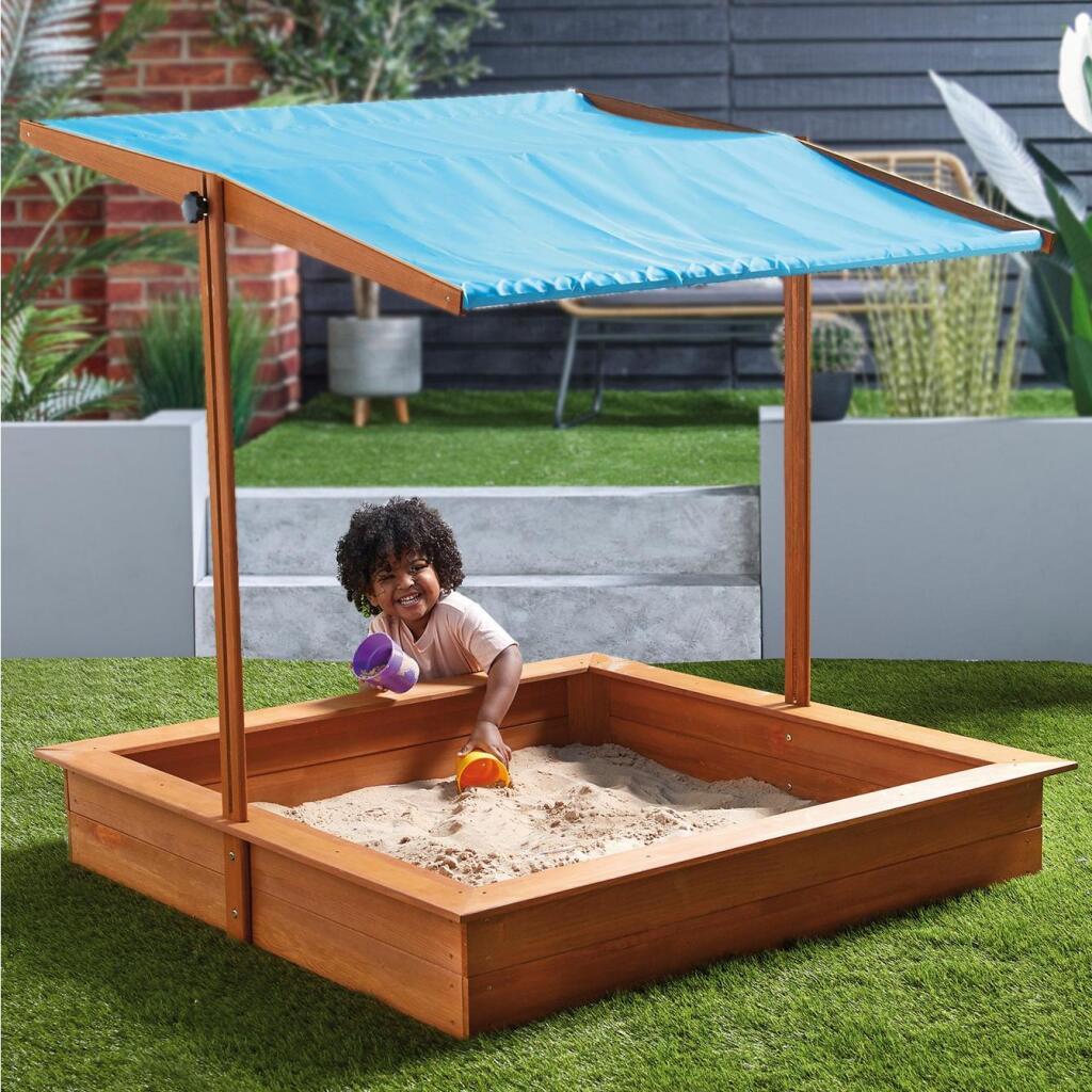 Wooden Sandpit / Sandbox with Adjustable Canopy Roof £44.98 delivered @ Studio