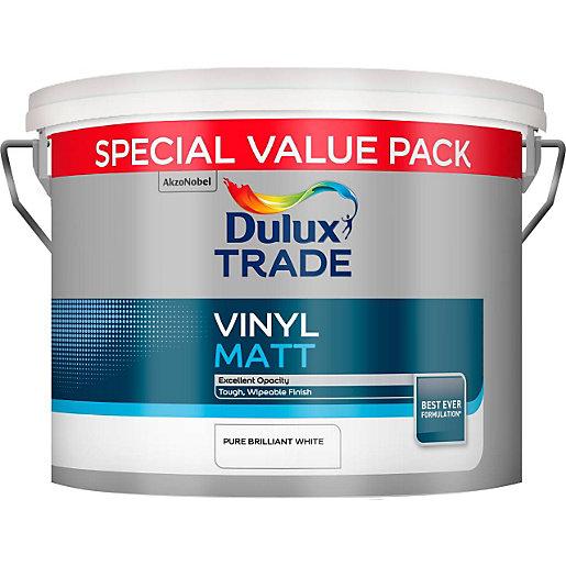 Dulux Trade Vinyl Matt Pure Brilliant White Paint 7.5L £24 (free collection) @ Travis Perkins