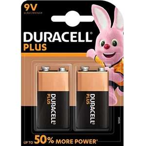 Duracell 9 V Plus Power Alkaline Type Battery (Pack of 2) £3.76 Prime £8.25 Non Prime - UK Mainland - Sold by Amazon EU @ Amazon