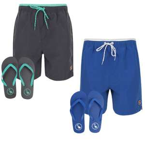 Men's Swim Shorts with Flip Flops Set - 3 colour options now £9.99 delivered using code @ Tokyo Laundry