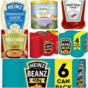 Multiple Heinz products from 66p (+£4.49 NP) + 15% off with subscribe & save voucher Inc sauce, Beans,soup,mayo,baby food @ Amazon