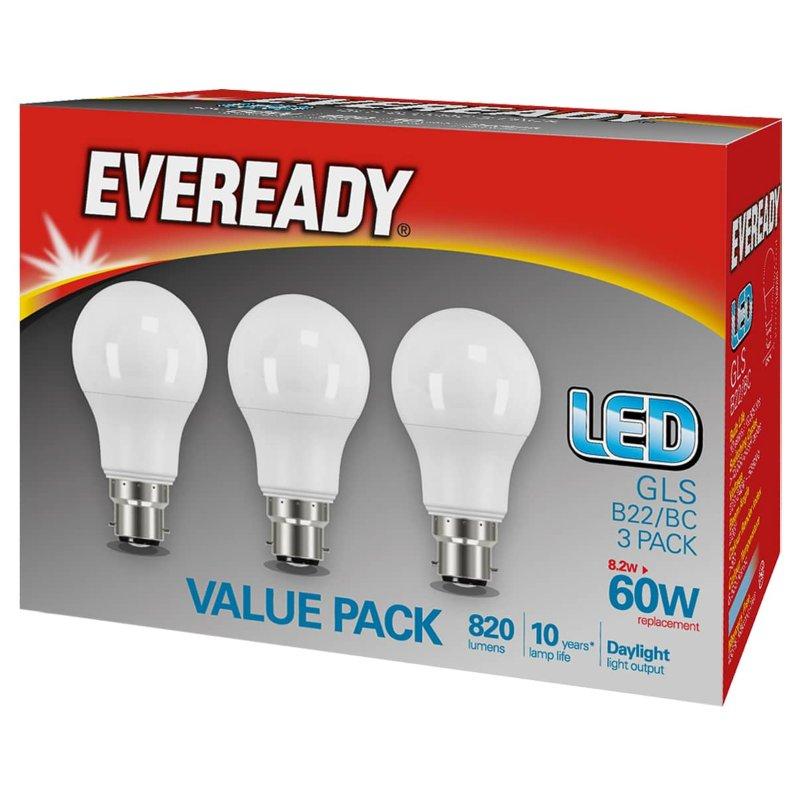 Pack of three LED Daylight 6500K Bayonet B22 bulbs 8.2W=60W @ B&M stores (Dagenham)