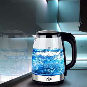 Cordless Neo Glass Blue LED Illuminated Electric Kettle Jug 2L £15.99 delivered, with code, @ eBay / neodirect