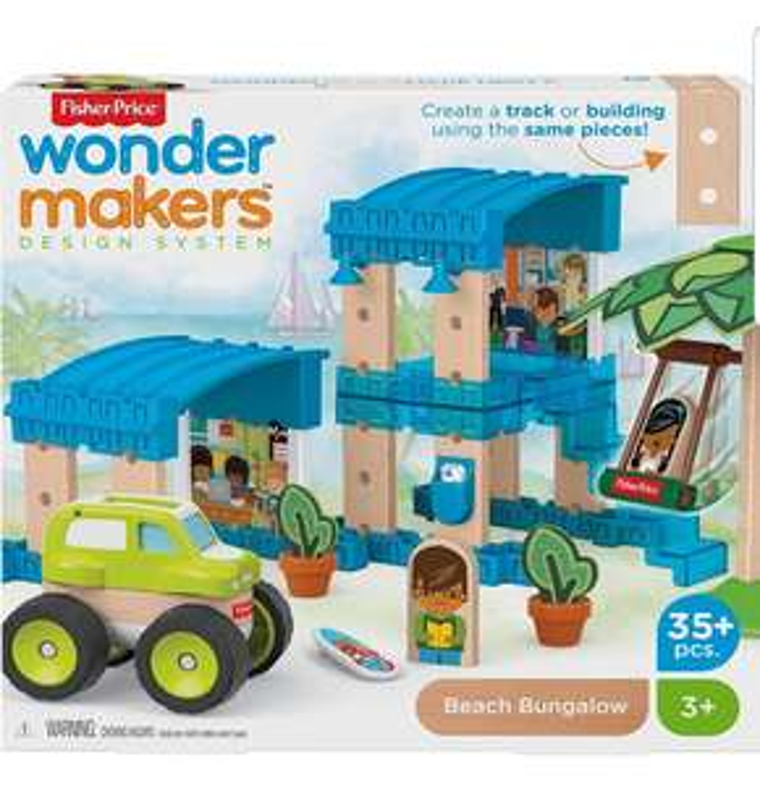 Fisher-Price GFJ13 Wonder Makers Design System Beach Bungalow, Building & Track Set - £8.37 (+£4.49 Non Prime) @ Amazon