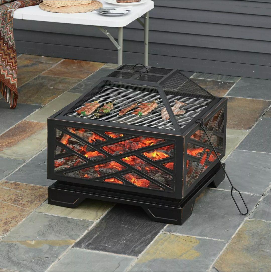 66cm Square Fire Pit Patio Metal Brazier £149.99 @ outsunny eBay