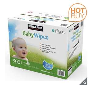 Kirkland Signature Baby Wipes, 9 x 100 Pack £12.79 delivered @ Costco