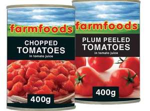Farmfoods Chopped/Plum Tomatoes Tins are Any 4 for £1 @ Farmfoods (Bury)