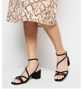 Black Suedette Strappy Mid Heel Sandals (Size 5) Now £6 + £1.99 click and collect @ New look