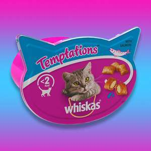 10 x Whiskas Temptations with Salmon Pet Cat Food Treats (90g) Tubs - £7 Delivered @ Yankee Bundles