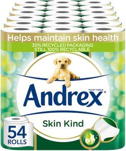£24.00 (£0.44 / count) Andrex Toilet Roll - Skin Kind Toilet Paper With Aloe Vera Extract, 54 Toilet Rolls - £24 @ Amazon