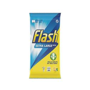 Flash Lemon 60 Extra Large Wipes - 50p (was £2) Morrisons (Hyde)