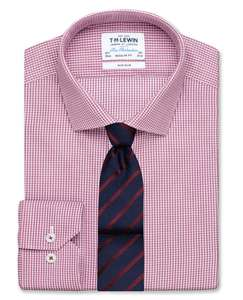 Non-Iron Regular Fit Red Micro Check Twill Shirt – TM Lewin - £14.95 (+£4.25 Delivery)