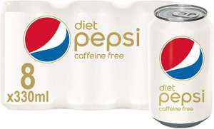 Diet Pepsi, Caffeine Free, 8 x 330ml - £3 Prime (£1.95 using 20% off S&S on selected accounts) + £4.49 Non Prime @ Amazon