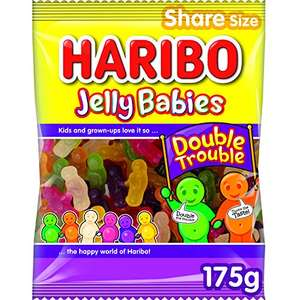 Haribo Jelly Babies Double Trouble Sweets Bag 175g 75p prime / £5.24 nonPrime (64p S&S) @ Amazon