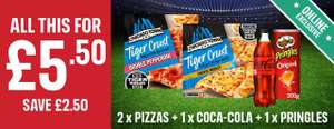 2X Chicago Town Tiger Crust Pizza & Coke \ Diet Coke & Tub Of Pringles £5.50 ( Online Exclusive ) @ Iceland