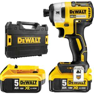 DeWalt DCF887 18V XR Cordless Brushless Impact Driver 2 x 5.0Ah - £179.89 @ Toolstation