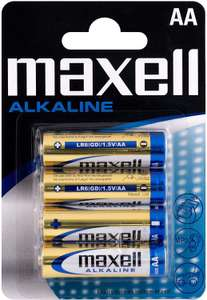 Maxell Alkaline AA Battery (Pack of 4) 99p (£4.49 p&p non prime) @ Amazon