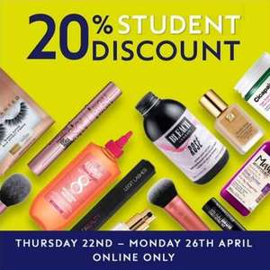 20% off for Students @ Boots from 22nd to 26th April online only (£1.50 click & collect free over £15 / £3.50 delivery free over £25)