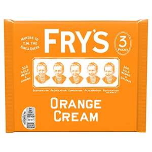 Fry's Orange Cream Chocolate Bar 3 Multipack 147g £1.05 (+£4.49 Non Prime) @ Amazon
