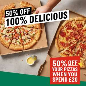 50% Off Pizzas, min £20 spend (Delivered or Collected) with code @ Papa Johns