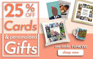 25% Off Cards and Personalised Gifts @ Funky Pigeon