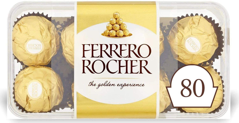 Ferrero Rocher Chocolate Hazelnut and Milk Chocolate Pralines, 5 x 16, 80 Chocolate Pieces £16.88 (£4.49 p&p np) £13.97/£16.04 s&s @ Amazon