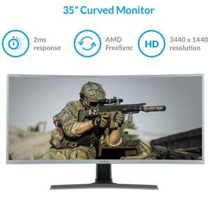 """electriQ 35"""" WQHD 100Hz HDR FreeSync Curved UltraWide Gaming Monitor + 2 year warranty - £279.97 (Free England Delivery) @ Laptops Direct"""