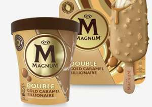 Magnum Double Gold Caramel Billionaire Ice Cream Sticks (3 Pack)/Ice Cream Tubs 460ml are £2 @ The Food Warehouse Iceland