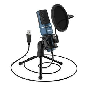 TONOR PC Microphone USB Computer Condenser Gaming Mic Plug & Play with Tripod Stand & Pop Filter - £30.09 - Sold by Micfonotech / FBA