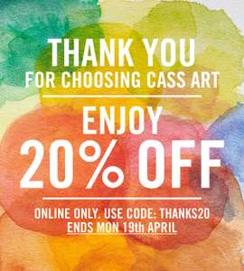 20% off everything at Cass Art until 23:59:59 19.04.21, even already-discounted items