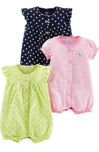 Baby girl's 3 pack of rompers size 24 months now £11.79 (with Prime using code) at Amazon