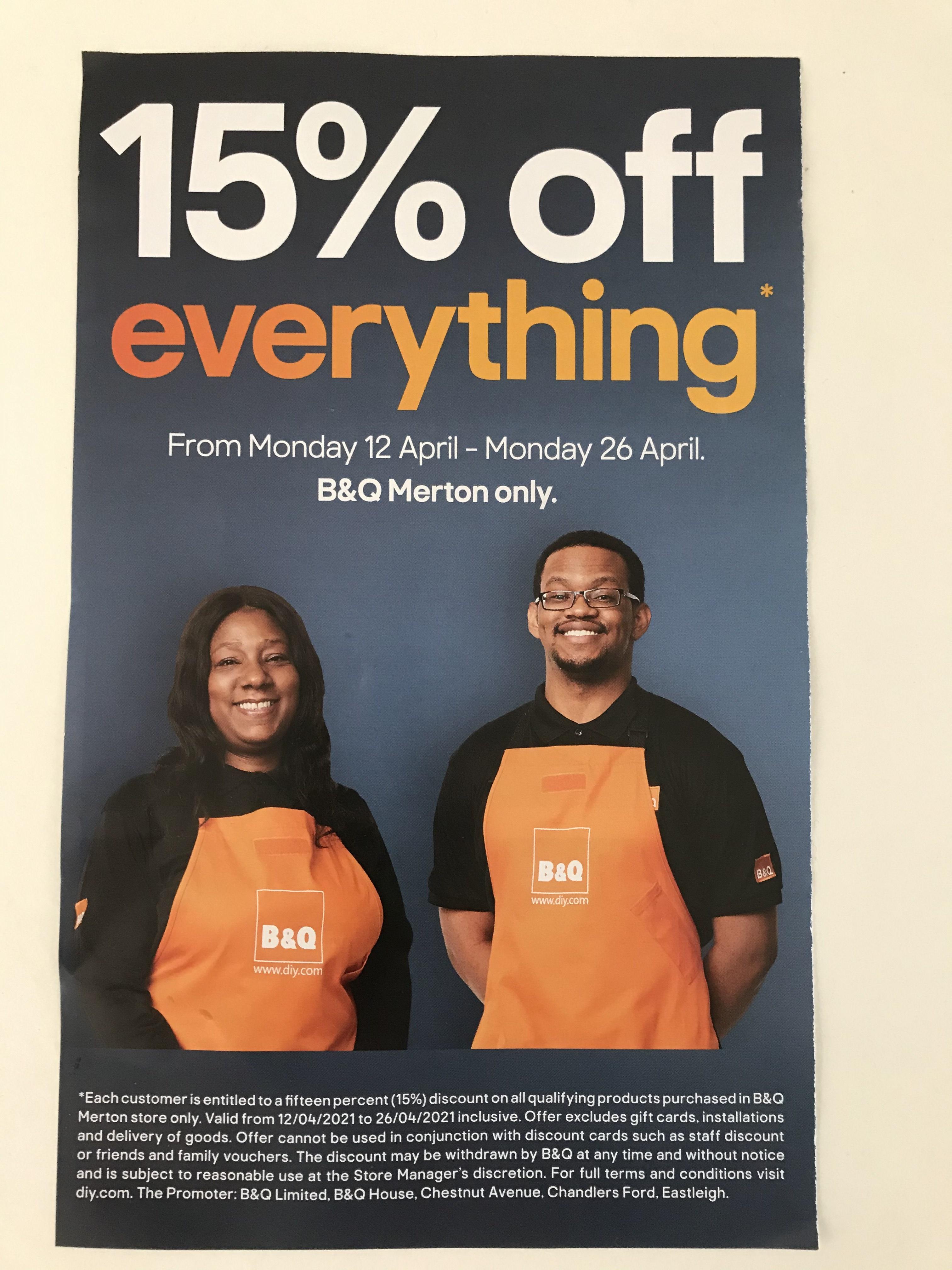 15% off everything at B&Q Merton